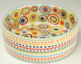 Pet Dish, Small Ceramic Pet Bowl,  No Spill Dog or Cat Bowl, Circles, Stripes and Dots, Pet Dinnerware