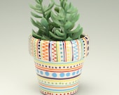 Xtra Small Flower Pot with Drainage Hole, Stripes, Dots, Circles Pottery Planter, Ceramic Plant Container, Vessel, Holder, Succulent Garden