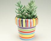 Xtra Small Flower Pot with Drainage Hole, Stripes Pottery Planter, Ceramic Plant Container, Vessel, Holder, Succulent House Garden