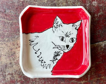 Red Cat Square, Handmade Red, White, Black Kitty Pottery Dish, Jewelry Plate Bowl, Hand Made Ceramics, Trinket Holder, Small Dessert Plate