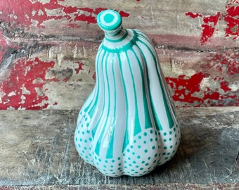 Ceramic Gourd Pumpkin, Dots and Stripes Elegant Holiday or Everyday Decoration, Fall, Halloween, Thanksgiving, Gourd Sculpture