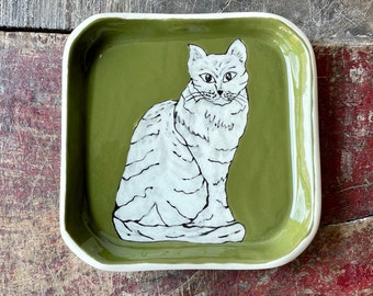 Olive Green Square Plate, Kitty Pottery Dish, Jewelry Plate Bowl, Hand Made Ceramics, Trinket Holder, Cat Lovers Handmade Gift