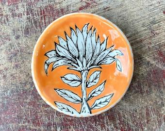 Small  Pottery Bowl, Ring Bowl, Orange Flower Jewelry Dish, Ceramic Trinket Holder, Tealight Candle Holder, Tea Bag Bowl, Handmade Gift