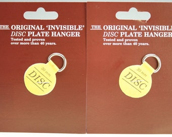 """Extra Small Plate Hangers Set of Two (2) - Invisible Disc - 1-1/4"""" For Plates Up To 4"""", Plate Wall Hanger"""