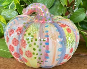 Squatty Pastels Ceramic Pumpkin, Elegant Holiday or Everyday Decoration, Fall, Halloween, Thanksgiving, Gourd Sculpture