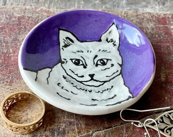 Cat Pet Lovers Small Pottery Bowl, Purple Ring Jewelry Dish, Ceramic Hand Made Trinket, Tealight Candle Holder, Handmade Gift