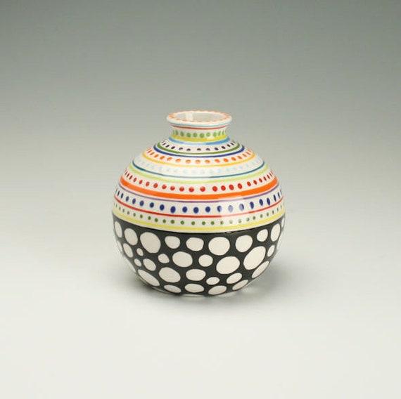 Small Round Vase Black White Colorful Vase Ceramic Flower Etsy