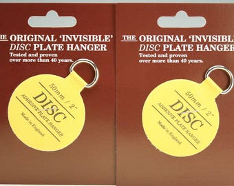 """Plate Hangers Set of Two (2) 2"""" Small - Invisible Disc Plate Walls Hanger - 2"""" For Plates Up To 6"""", Plate Wall Hanger"""