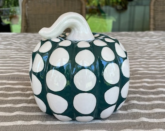Chunky Polka Dots Ceramic Pumpkin, Emerald Green and White Elegant Holiday or Everyday Decoration, Fall, Halloween, Thanksgiving, Sculpture