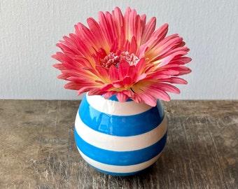 Bright Deep Turquoise Blue Vase, Blue and White Stripes Ceramic Flower Vessel, Grand Millennial Pottery Bud Holder, Striped Preppy Decor