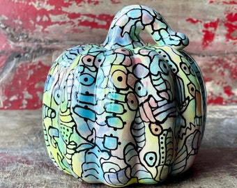Chunky Ceramic Pumpkin, Elegant Holiday or Everyday Decoration, Fall, Halloween, Thanksgiving, Gourd Sculpture