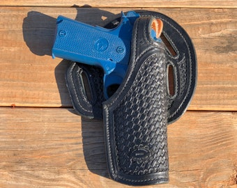 Hand Tooled Leather Gun Holster (Right side)