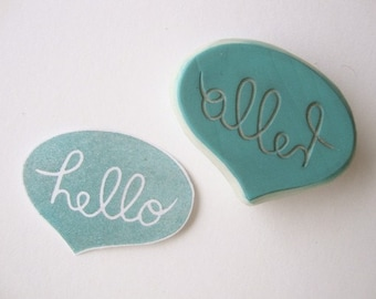 Hello Speech Bubble Hand Carved Rubber Stamp