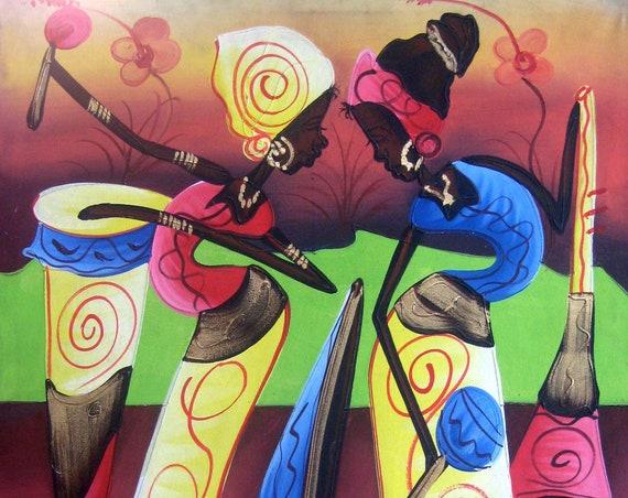 """Canvas Painting,  Haitian Dancers, Canvas Wall Art, Haitian Art, Original Painting, Canvas Art,Art of Haiti, Haitian Painting  - 20"""" x 24"""""""