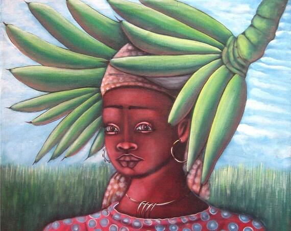 "Haitian Painting, Haitian Art, Canvas Painting, Canvas Wall Art, Original Painting, Canvas Art, Naive Art, Art of Haiti,   - 24"" x 24"""