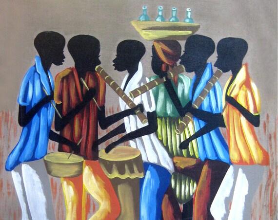 "Haitian Art, Canvas Painting, Canvas Wall Art, Original Painting, Canvas Art, Naive Art, Art of Haiti, Haitian Painting  - 20"" x 24"""