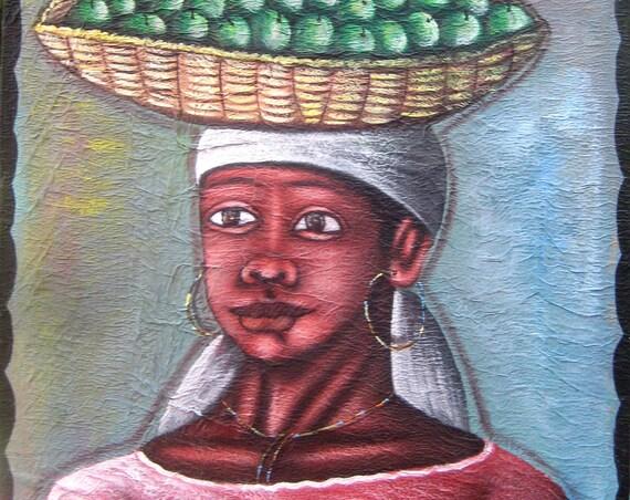 Canvas Painting, Haitian Painting, Haitian Art, Haitian Scene, Original Painting, Canvas Wall Art, Art of Haiti, Canvas Art, 20 x 22