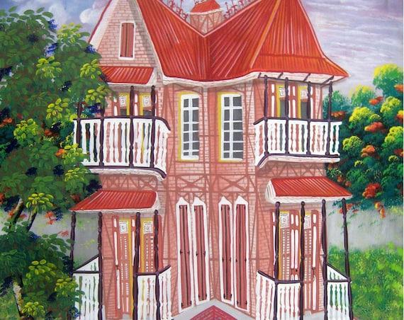 "Canvas Wall Art, Gingerbread House, Haitian Painting, Haitian Art, Canvas Painting, Original Painting, Canvas Art, Art of Haiti - 20"" x 24"""