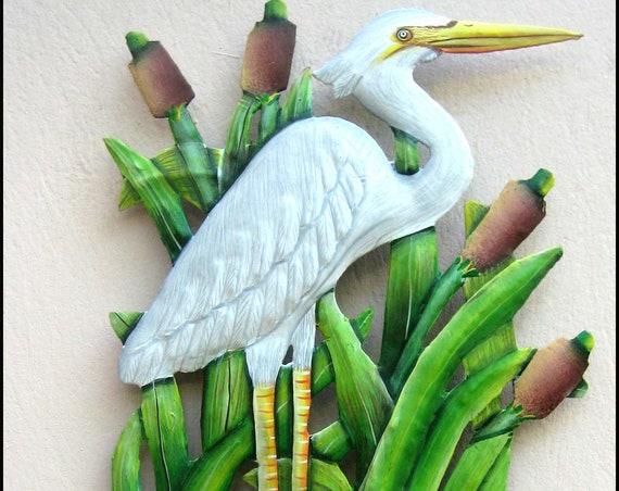 "Metal Egret Wall Hook, Metal Egret, Coastal Decor, Garden Decor, Patio Decor - 8"" x 15""- Island Decor, Garden Art, Metal Art, K-160-HK"