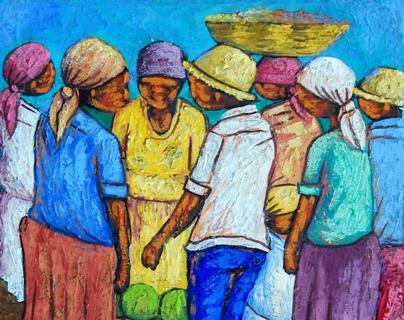 "Haitian Painting, Hand Painted Art,Haitian Art, Canvas Painting, Original Painting, Canvas Art, Art of Haiti, Canvas Wall Art,  12"" x 16"""