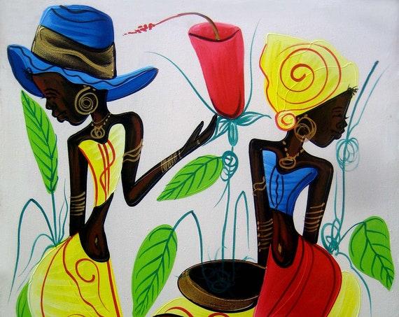 Art of Haiti, Canvas Painting, Haitian Painting, Haitian Art, Haitian Women, Original Painting, Canvas Wall Art, Canvas Art, 20 x 24
