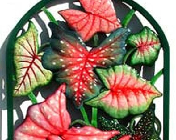 "Hand Painted Metal Art, Tropical Plant Decor -Framed Caladium Metal Wall Hanging -  Garden Art - Tropical Patio Decor 20"" x 36"" - K-7320"