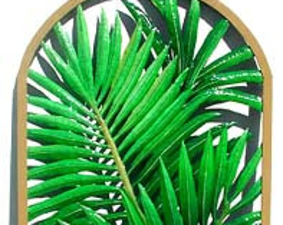 "Tropical Decor, Painted Metal Art, Tropical Plant Design, Framed Palm Tree Metal Wall Hanging,Garden Art, Patio Decor 20"" x 36"" - K-7321"