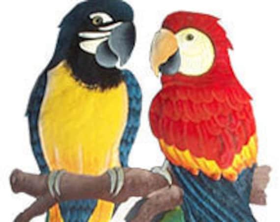 Parrots, Metal Art, Hand Painted Metal, Tropical Parrot Wall Decor - Haitian Art, Metal Wall Art - Handcrafted Tropical Garden Decor - K7024