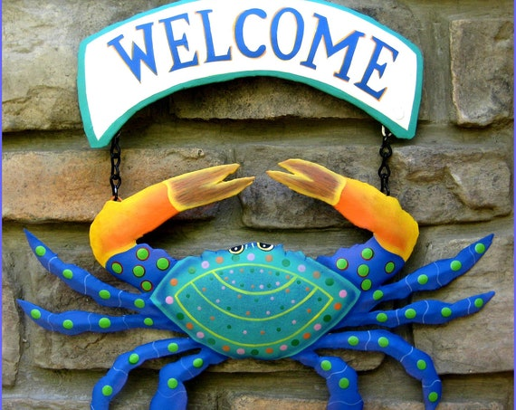 Painted Metal Blue Crab, Metal Wall Art, Coastal Metal Welcome Sign, Tropical Decor, Beach Decor, Island Decor, Garden Decor -107-TB-CW