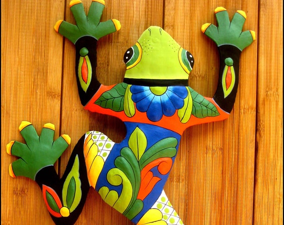 Painted Metal Wall Decor, Painted Frog, Outdoor Metal Art, Garden Art, Haitian Art, Garden Decor, Tropical, Outdoor Metal Wall Art, M-702-