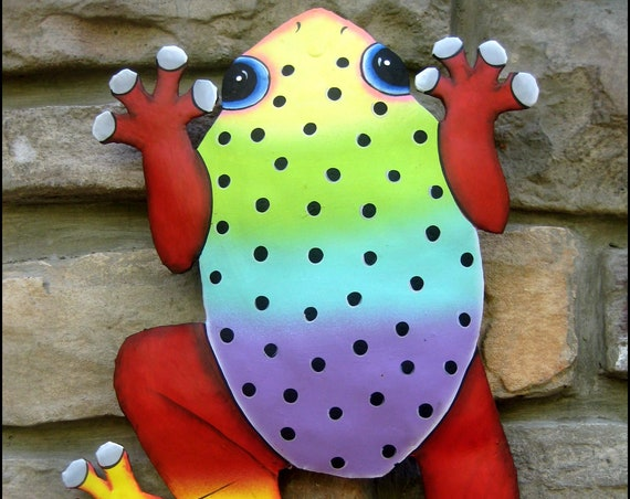 "Painted Frog Metal Wall Decor, 12"". Metal Art, Outdoor Decor, Garden Decor, Metal Frog,Tropical Art, Metal Wall Art, FM-2003-MC"