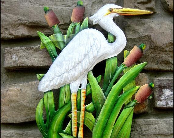 "Painted Metal Egret Coastal Decor, Garden Decor, Egret, Metal Wall Hook,Patio Decor, 8"" x 15""- Island Decor, Garden Art, Metal Art, K-160-HK"