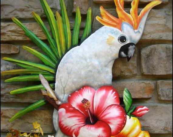 Painted metal Cockatoo Parrot - Painted Metal Wall Hanging,Bird, Tropical Art, Outdoor Metal Art, Tropical Decor, Metal Wall Art -  K7403