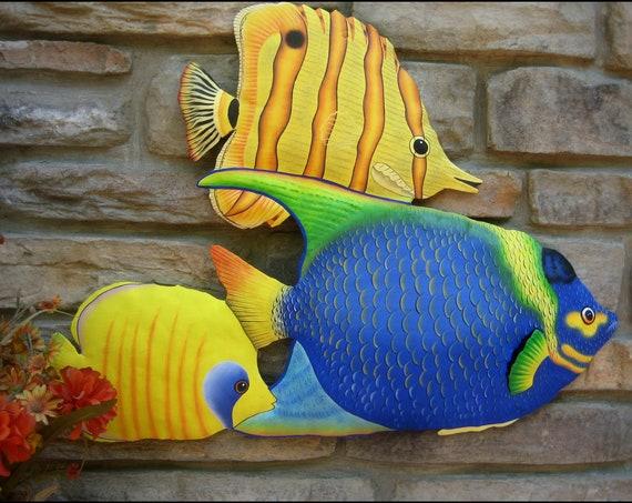 TROPICAL FISH Wall Hanging, Fish, Painted Metal Art, Metal Wall Art, Beach Decor, Tropical Decor, Outdoor Garden Art, Garden Decor - K-150