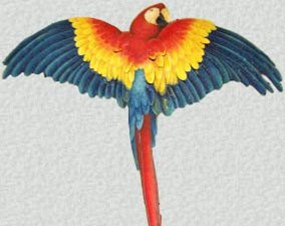 "Painted Metal Scarlet Macaw Parrot, Metal Wall Hanging, 26"", Metal Wall Art, Tropical Decor, Metal Art, Parrot, Garden Decor,   K7037"