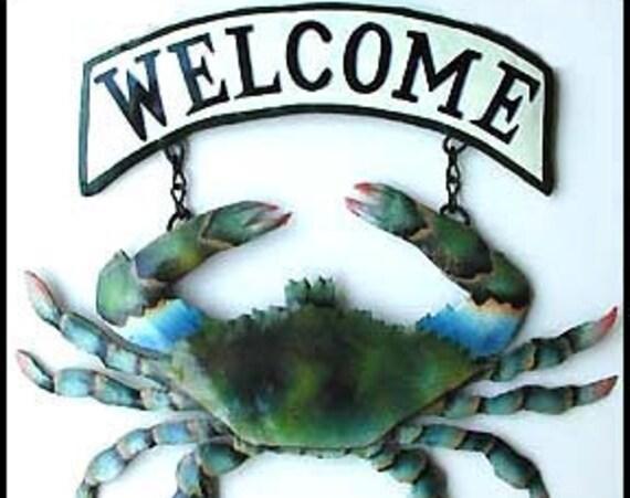 Coastal Metal Welcome Sign, Painted Metal Blue Crab, Metal Wall Art, Tropical Decor, Beach Decor, Island Decor, Garden Decor -K7066-CW