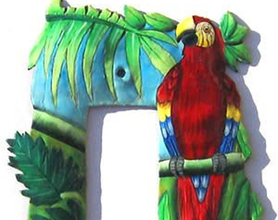 Switchplate Covers, Painted Metal Scarlet Macaw Parrot, Double Rocker Switch Plate - Metal Light Switch Cover, Tropical Design - SR-1138 -1