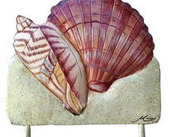 "Sea Shell Metal Wall Hook, Coastal Metal Wall Art, Island Decor, Nautical Decor, Shell Art, 6"" x 7"", Metal Art, Beach Decor, 1266-H-9"