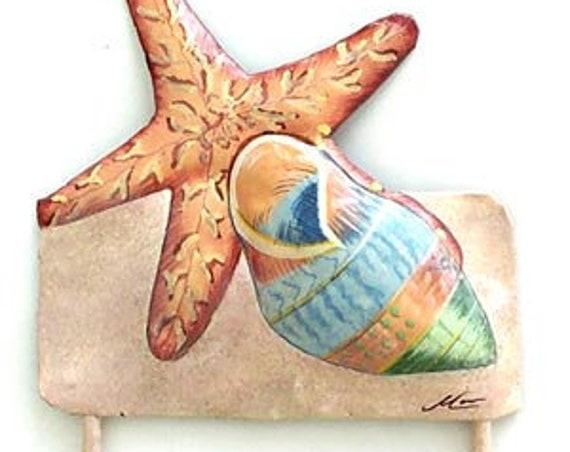 "Sea Shell Metal Wall Hook, Coastal Metal Wall Art, Island Decor, Nautical Decor, Shell Art, 6"" x 7"", Metal Art, Beach Decor, 1266-H-8"