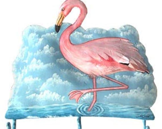 """Flamingo Metal Wall Hook, Tropical Design, Painted Metal Bathroom Decor, Tropical Metal Art, Metal Hook,  Towel Hook, 10"""" x 10"""" - D-461-H"""