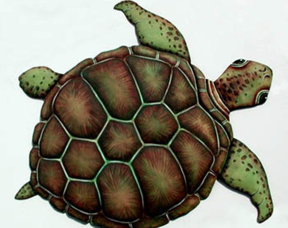 Metal Wall Hanging, Loggerhead Turtle, Beach Decor, Garden Decor, Outdoor Metal Art, Painted Metal, Garden Art, Metal Wall Hanging, K-7048-A