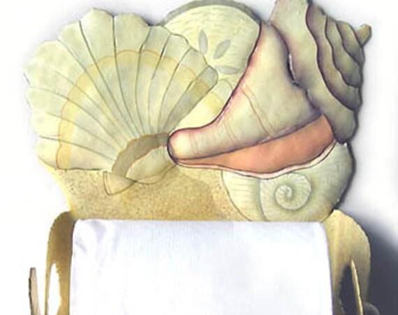 Toilet Paper Holder, Beach Decor, Shell Design, Metal Art, Toilet Tissue Holder, Hand Painted Metal, Bathroom Decor, Shell Art,  T1266-TP