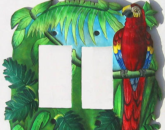 Switchplate Covers - Double Rocker Switch Plate - Metal Light Switch Cover, Painted Metal Scarlet Macaw Parrot, Tropical Design - SR-1138 -2