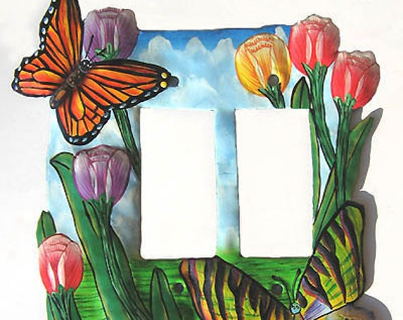 Butterfly Switchplate Covers, Painted Metal Butterfly Art, Light Switch, Double Rocker Switch Plate Cover, Switch-Plate Covers -SR-1139-2