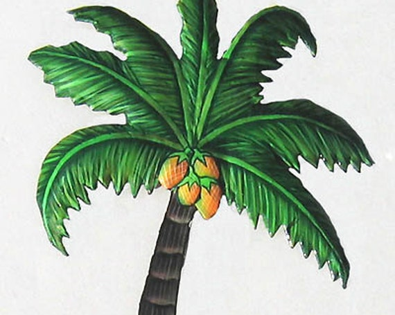 "Coconut Tree,  Metal Wall Hook, Tropical Metal Hook, Tropical Wall Decor, Tropical Metal Art, Painted Metal Towel Hook -5"" x 10"" - 991"
