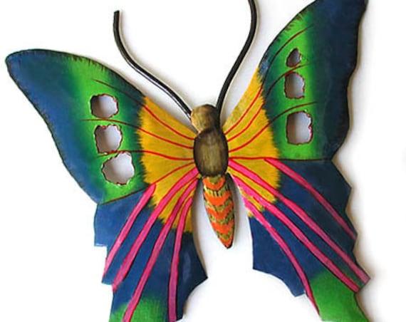Butterfly Wall Art, Painted Metal Butterfly Art, Outdoor Metal Wall Hanging,Garden Art, Painted Metal Art, Garden Decor, 108-BL-GR