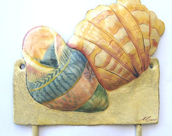 "Sea Shell Metal Wall Hook, Coastal Metal Wall Art, Island Decor, Nautical Decor, Shell Art, 6"" x 7"", Metal Art, Beach Decor, 1266-H12"