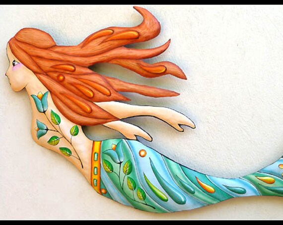 Mermaid Metal Art, Painted Metal Wall Hanging, Patio Decor, Metal Wall Art, Tropical Decor, Pool Decor, Outdoor Metal Wall Art,J-475AQ