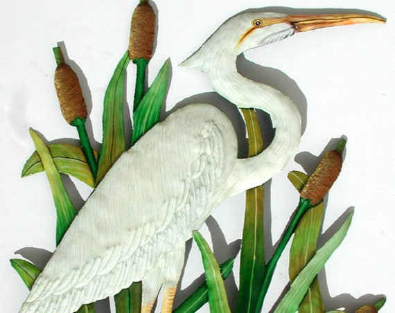 "Outdoor Metal Wall Art, White Egret, Painted Metal Art Wall Hanging, Tropical Decor, Haitian Art, Garden Art, Garden Decor, 15 x 24"", K- 160"