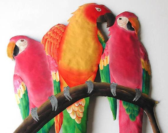 Metal Art Parrots, Bright Tropical Art, Painted Metal Art, Parrot Wall Hanging, Metal Wall Art, Metal Wall Hanging, Tropical Decor- K7026